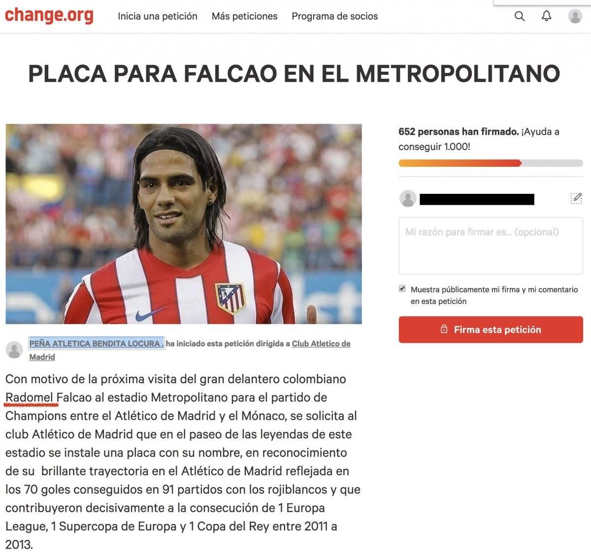 Petición sobre Falcao García en Change.org