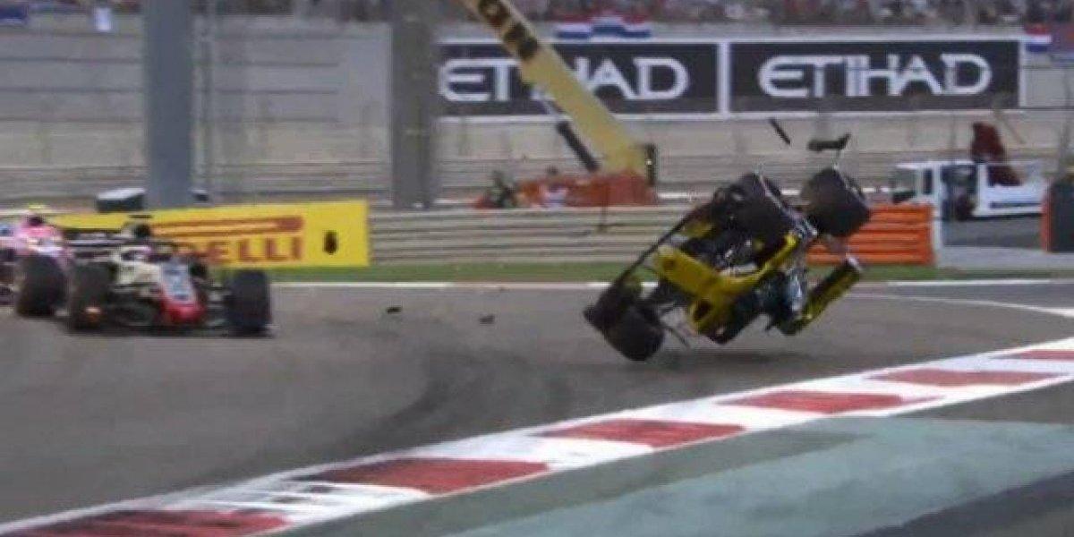 VIDEO: Hulkenberg sufrió un aparatoso accidente en la primera vuelta del GP de Abu Dabi