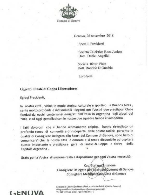 Carta de Génova por River VS Boca