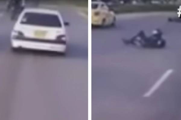 conductor arrolla un motociclista y huye sin auxiliarlo en Bogotá