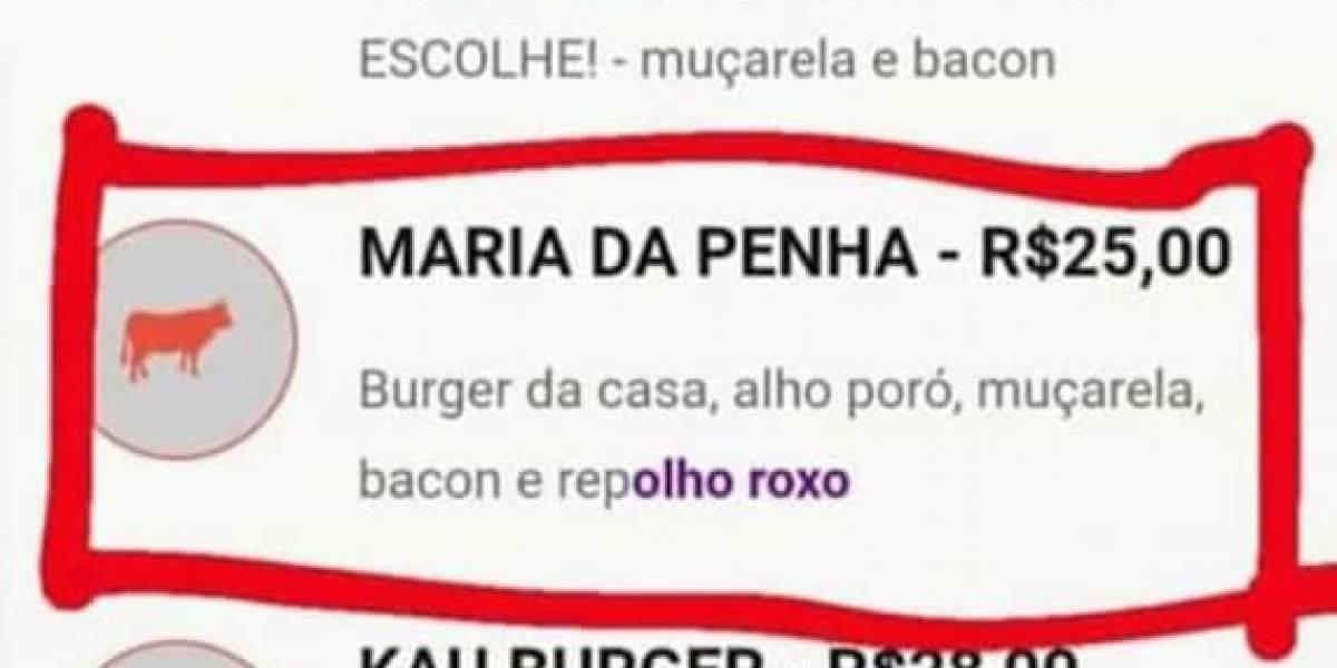 Lanchonete batiza hambúrguer de Maria da Penha: 'repOLHO roxo'