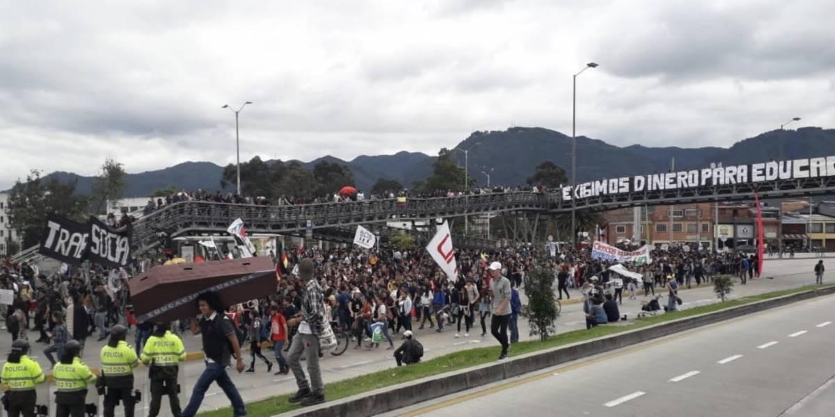 Estudiantes de la Universidad Nacional le dejaron un mensaje a Iván Duque en la calle 26