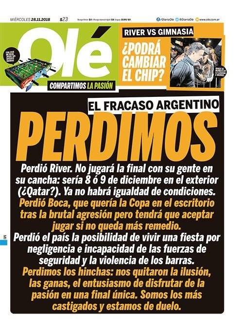La portada de Olé que refleja el sentir de Argentina / imagen: Diario Olé