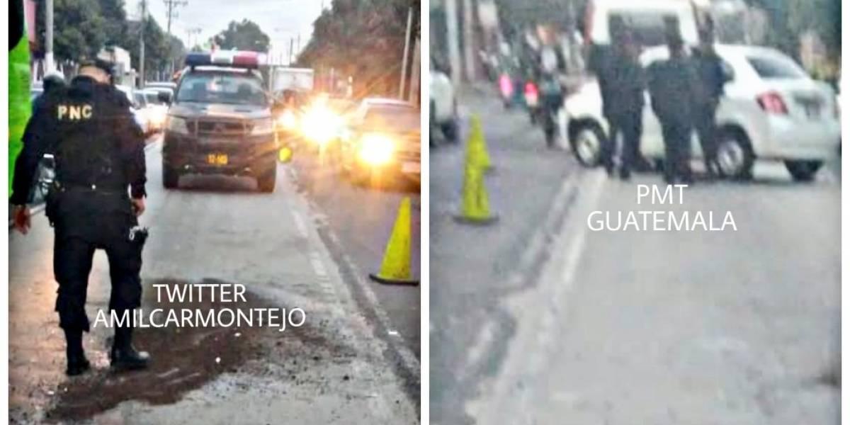 Patrulla y vehículo colisionan en la zona 6