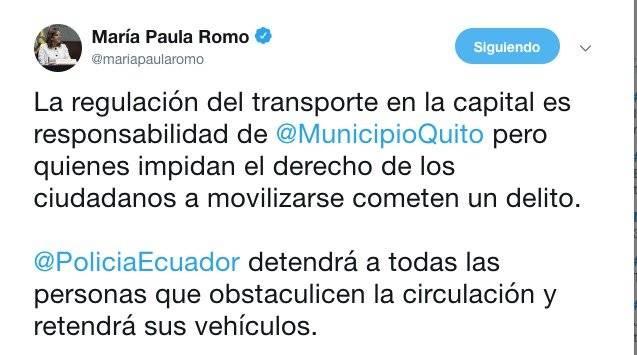 Twitter de la ministra Romo