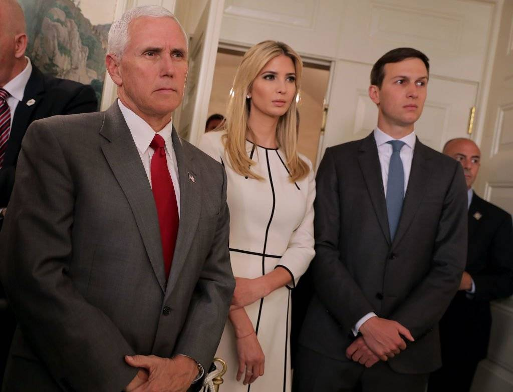 Michael R. Pence, vicepresidente de los Estados Unidos de América; Ivanka Trump, asesora de la Casa Blanca y Kirstjen Nielsen, secretaria del Departamento de Seguridad Interna de EU Foto: Getty Images