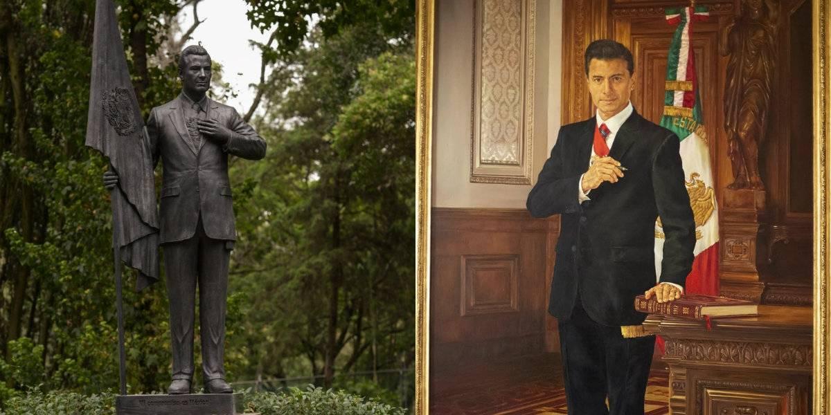Primero una estatua, ahora develan pintura de Peña Nieto en Palacio Nacional