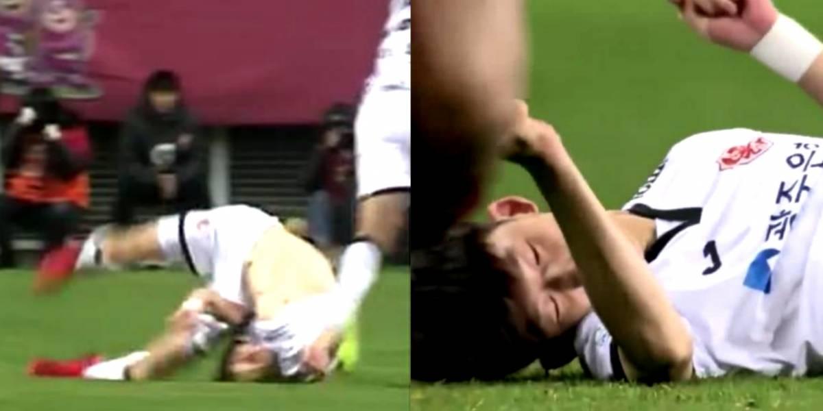IMÁGENES SENSIBLES Futbolista se fractura el cuello en una escalofriante caída