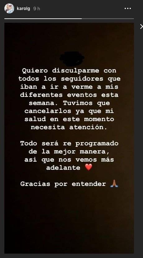 Karol G cancela conciertos por estado de salud