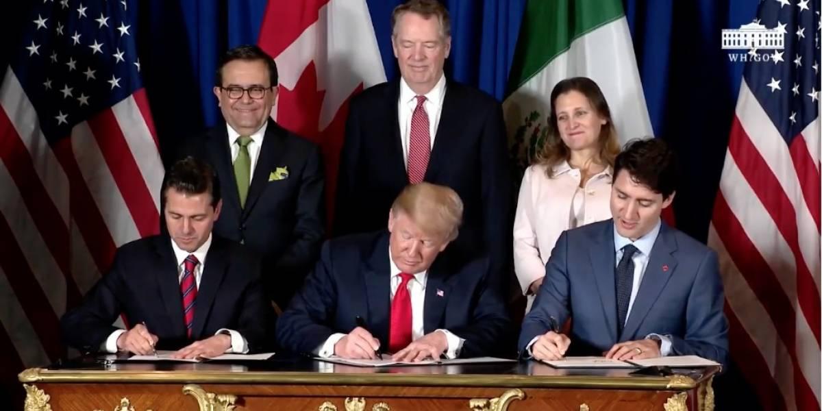 Donald Trump, Peña Nieto y Justin Trudeau firman el T-MEC
