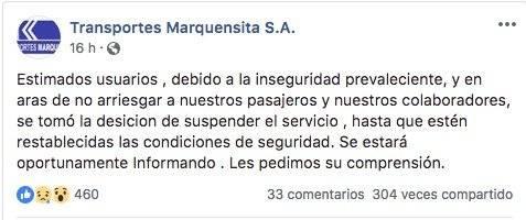 Transportes Marquensita suspende servicio por inseguridad