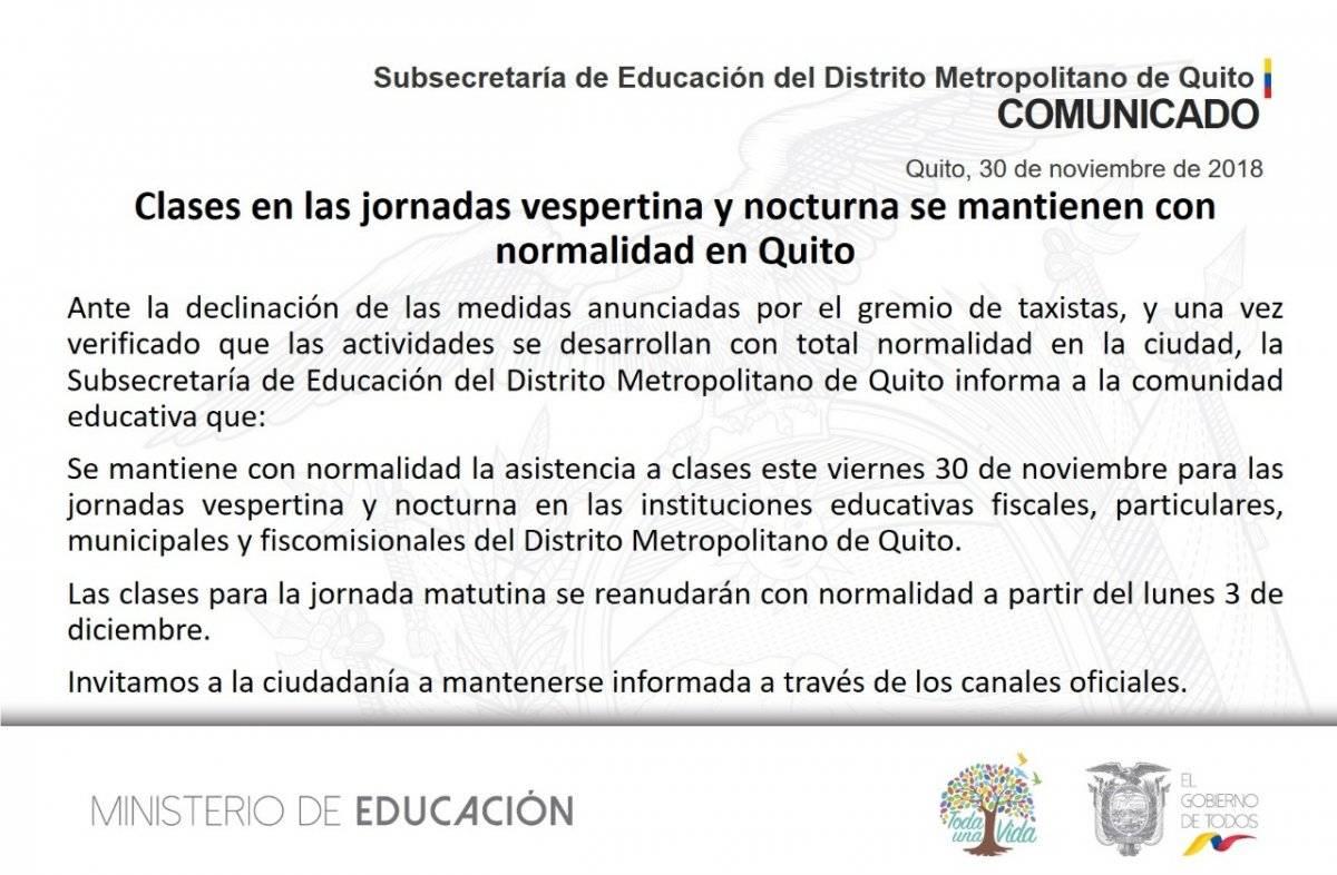 Quito: Se reanudarán las clases en horario vespertino y nocturno