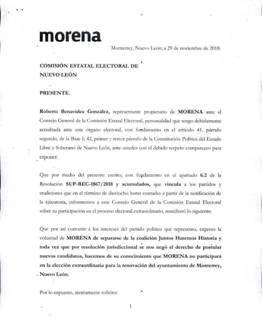 Comunicado de Morena