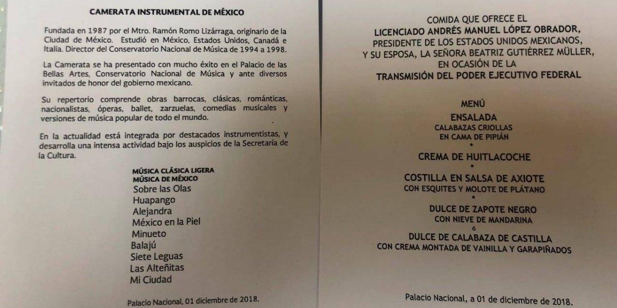 Este es el menú para los invitados de AMLO en Palacio Nacional