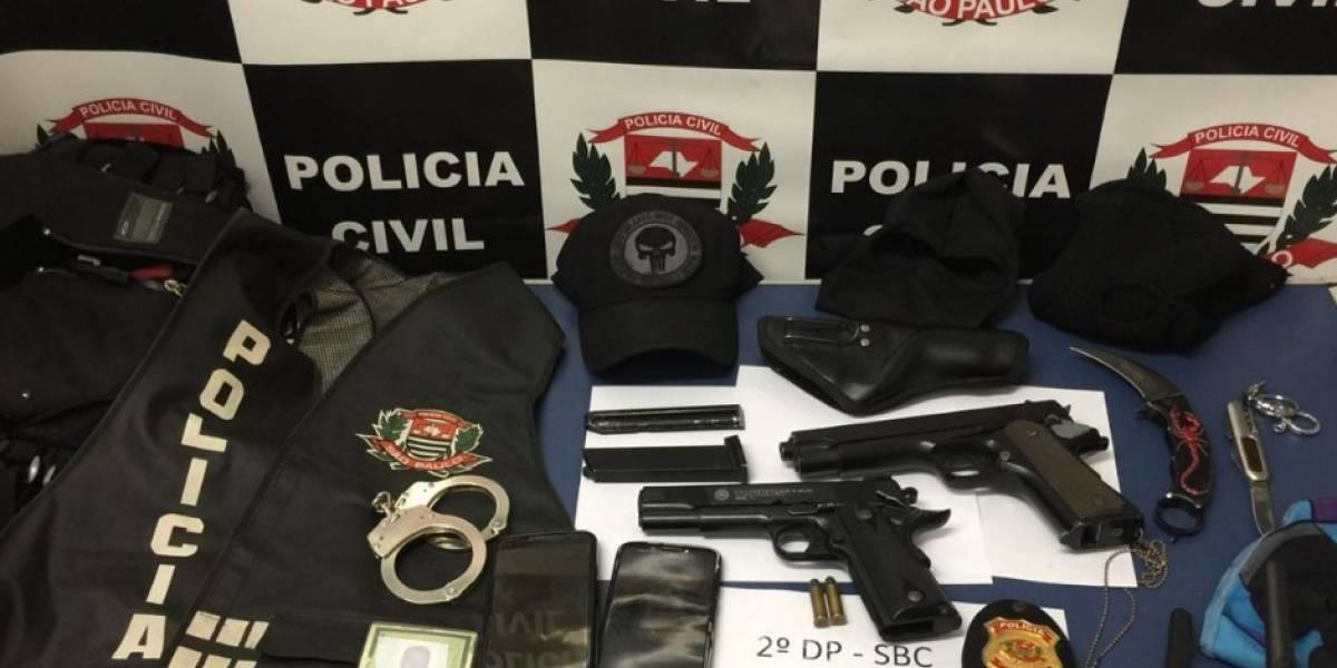 Falso policial é preso em São Bernardo com colete, distintivo e munição
