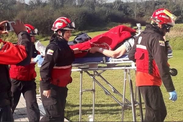 Hombre de tercera eda trasladado en helicóptero tras accidente de tránsito en Los Bancos