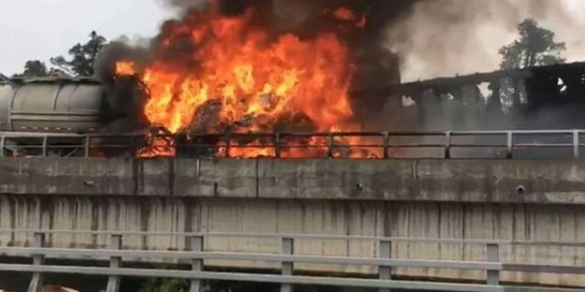 Impactante accidente en Osorno deja dos víctimas fatales: camiones chocan de frente y explotan en plena Ruta 5