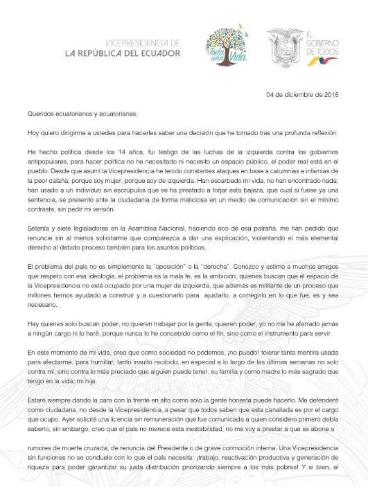 María Alejandra Vicuña renuncia al cargo de vicepresidenta Captura de pantalla