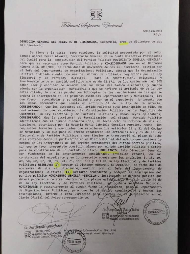 El TSE le notificó al Movimiento Semilla su inscripción como partido político. Foto: Cortesía
