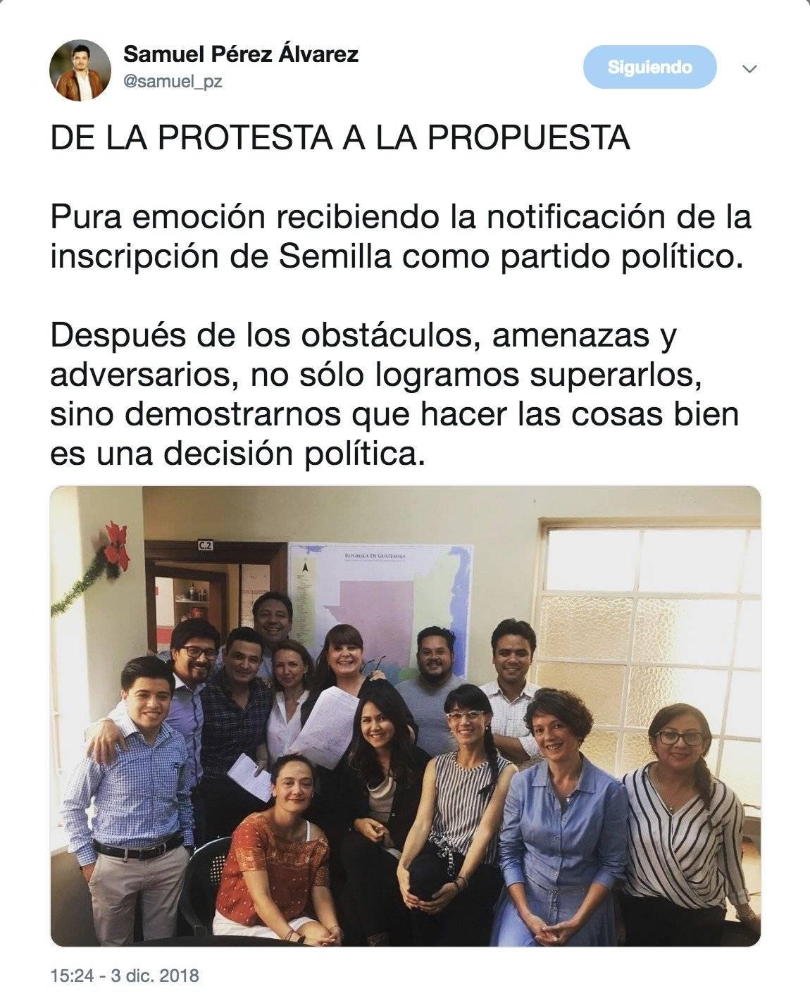 Samuel Pérez Álvarez con una publicación celebró la inscripción del Movimiento Semilla. Foto: Twitter