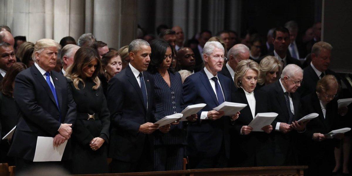 Trump y ex presidentes de EU se reúnen en el funeral de Bush padre
