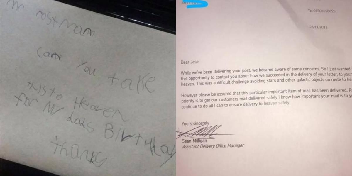 Menino envia carta ao 'céu' para o pai e recebe resposta