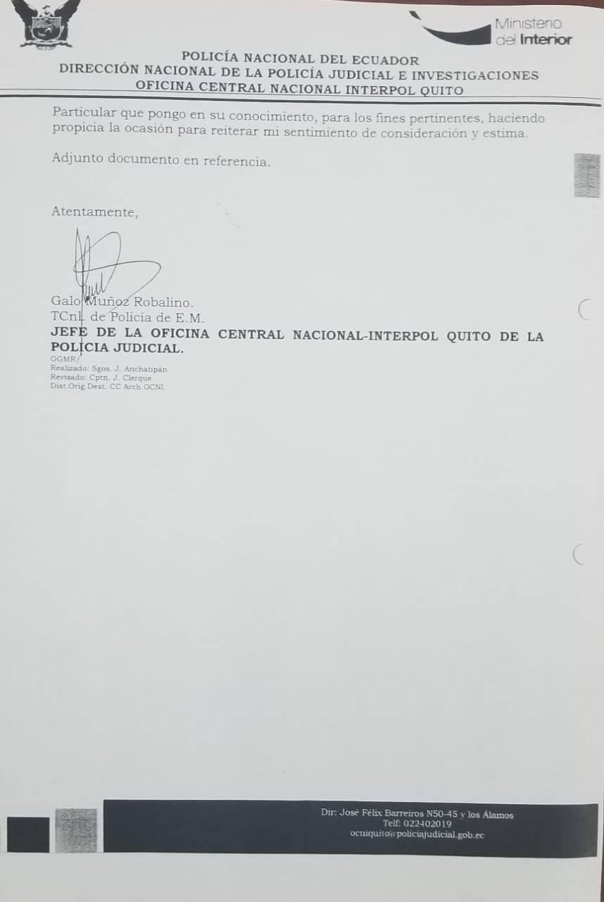 Interpol niega pedido de difusión roja en contra de Rafael Correa por el caso Balda Cortesía
