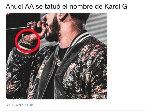 Los tatuajes de Karol G y Anuel AA por locura de amor