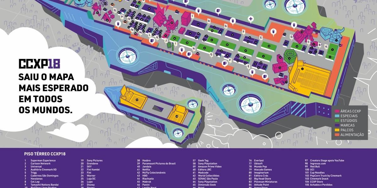 #CCXP18: Baixe o mapa da edição e veja onde ficam os estandes, auditórios e lojas