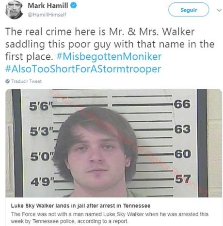 """Detuvieron a un tal """"Luke Sky Walker"""" por robo y Mark Hamill no tardó en burlarse"""