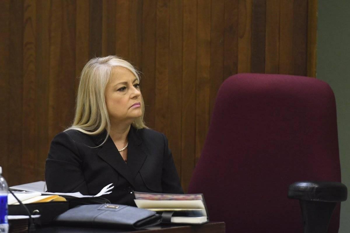 La secretaria de Justicia, Wanda Vázquez en el tribunal para enfrentar un proceso de regla 6. / Foto: Dennis A. Jones