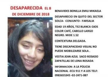 Padre de Emily Mikaela Benavides, joven desaparecida en Quito, dice que su hija se encontró con un desconocido Captura de pantalla