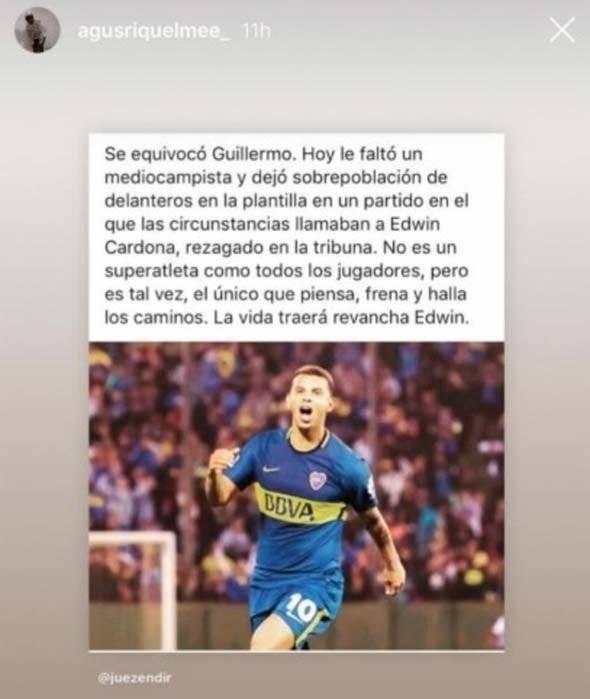 Hijo de Riquelme criticó a Guillermo Barros Schelotto