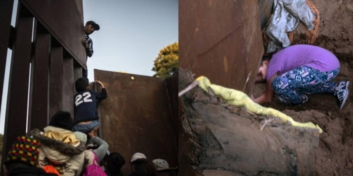 EN IMÁGENES. Por arriba o por abajo: así atraviesan los migrantes el muro de EE. UU.