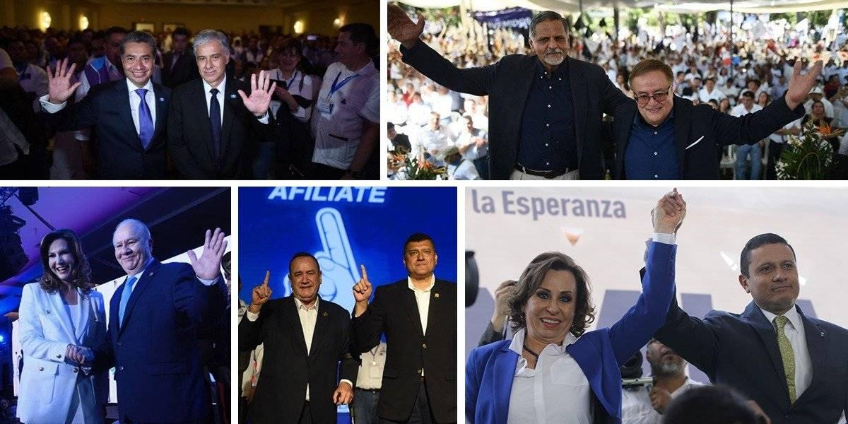 Ellos son los candidatos a la presidencia y vicepresidencia de Todos, Vamos, Valor, Fuerza y UNE. Fotos: Edwin Bercián y Wendy Morataya