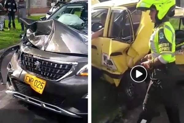 conductor estrelló a taxista y por escapar destruyó una camioneta en Bogotá
