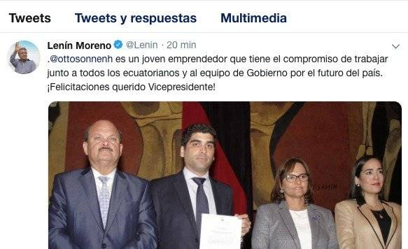 Lenín Moreno se pronuncia tras elección de Otto Sonnenholzner como vicepresidente