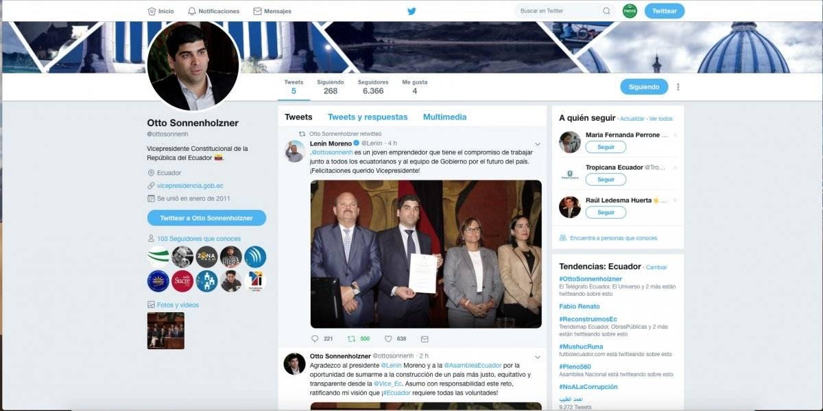 Así luce el perfil de Twitter de Otto Sonnenholzner tras asumir el cargo de vicepresidente Captura de pantalla