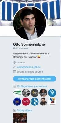 Así luce el perfil de Twitter de Otto Sonnenholzner tras asumir el cargo de vicepresidente