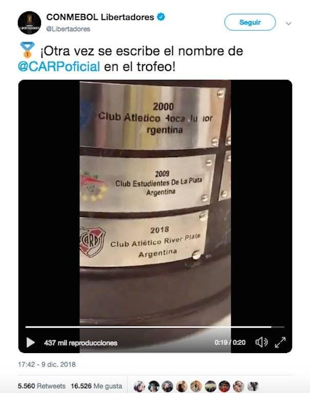 El error en el trofeo de la Copa Libertadores 2018