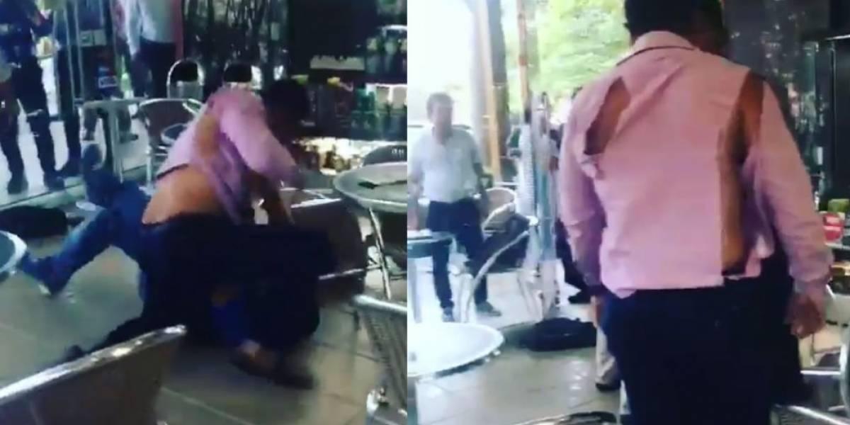 Clientes de un Juan Valdez se fueron a puños y destrozaron su ropa