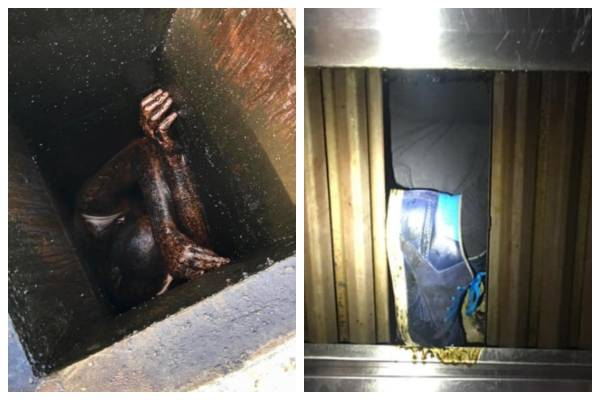 hombre atrapado en ducto de ventilación