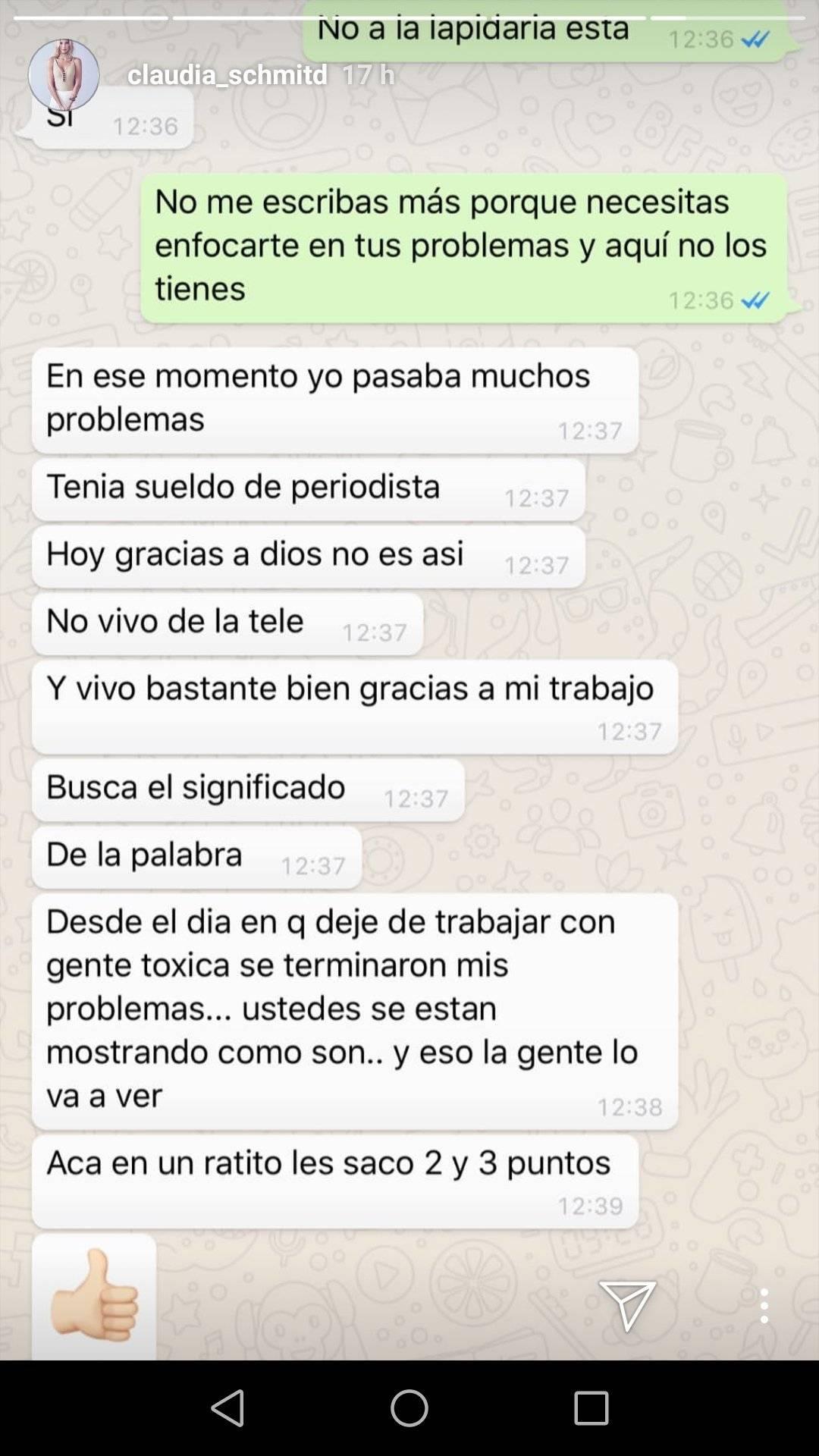 Conversación entre Claudia Schmidt y Mariela Sotomayor Instagram