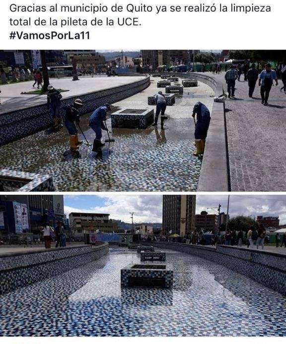 Municipio de Quito realizó limpieza de la pileta de la Universidad Central