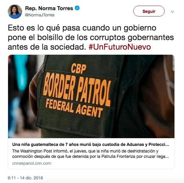 Tuit de Norma Torres por muerte de niña guatemalteca en EE.UU. Foto: Twitter