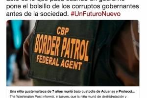 Tuit de Norma Torres por muerte de niña guatemalteca en EE.UU.