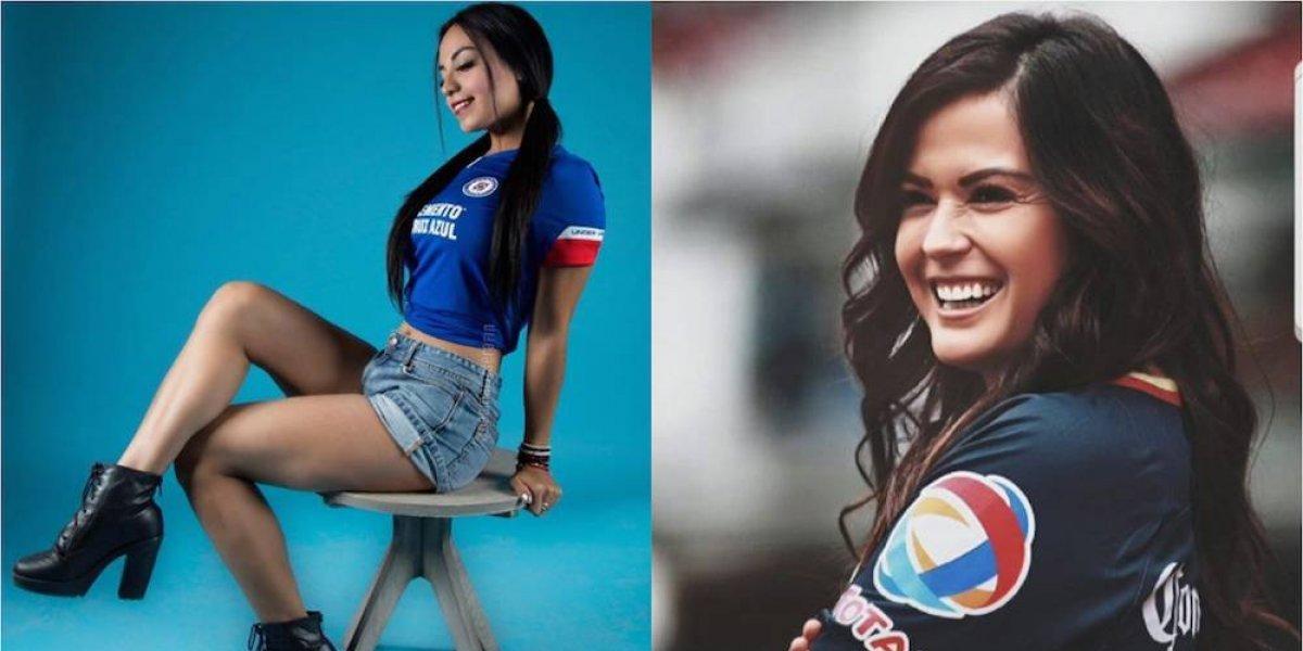 Dagmariz Serafín y Mariana Echeverría, bellas aficionadas de Cruz Azul y América