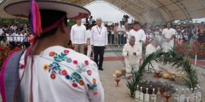 El mensaje de AMLO en el ritual para la construcción del Tren Maya