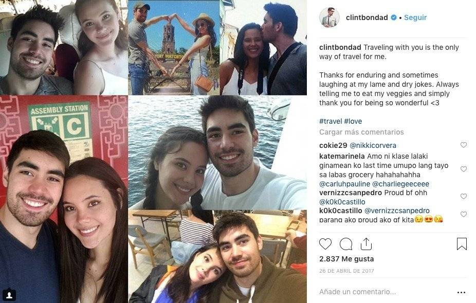 Catriona Gray y Clint Bondad Instagram