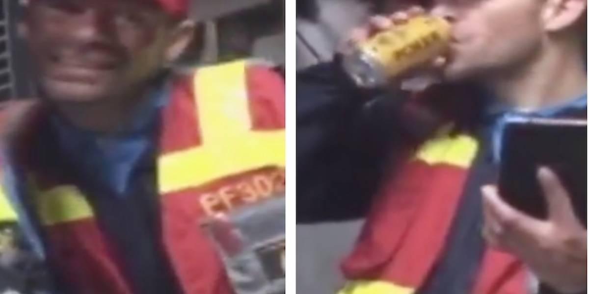 VIDEO: funcionario de TransMilenio fue sorprendido trabajando borracho